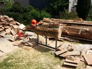 Řezání dřeva v Pořízku