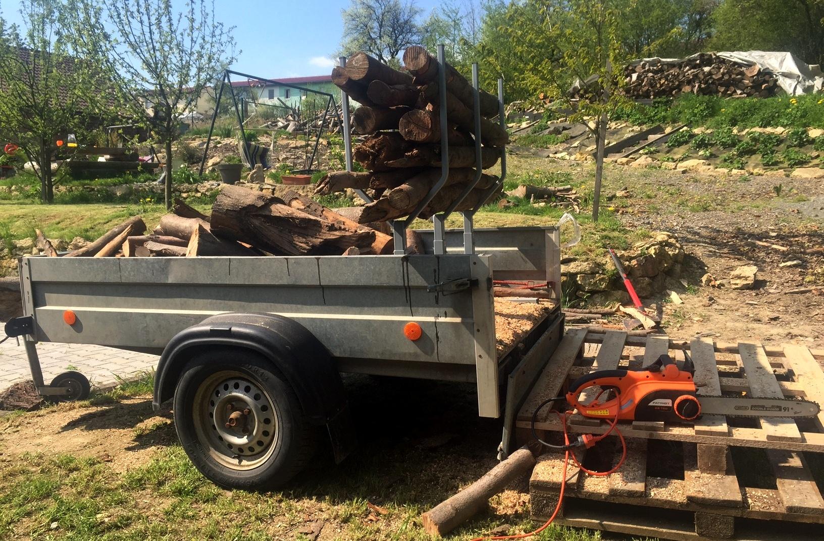 řezání dřeva na vozíku se stojanem Pořízek